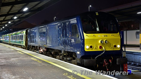 216 at Heuston after arriving with the 1620 from Cork. The train would now be washed and placed back to Platform 6 and then 216 would transfer to Inchicore for exam. Mon 23.01.17
