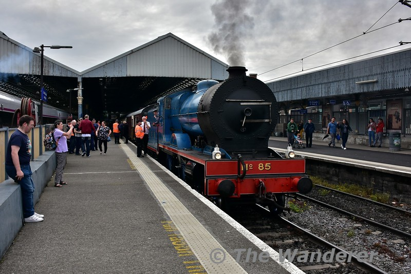 "No. 85 ""Merlin"" waits to depart from Connolly with the 1530 Spl. to Howth. Three trips ran today in connection with the Howth 170th anniversary. Sun 28.05.17"