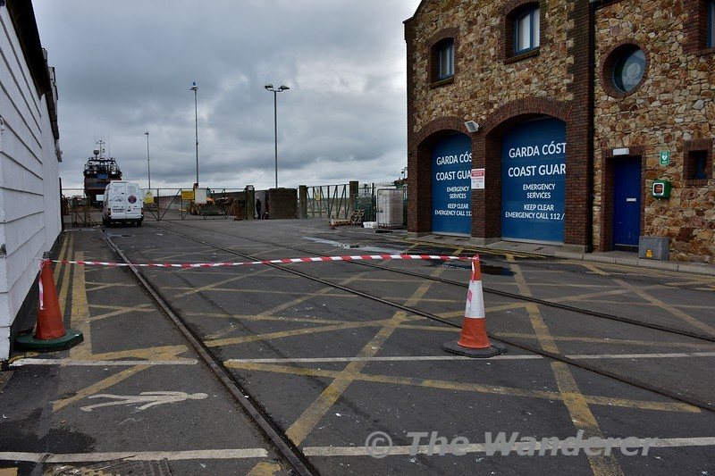 On the West Pier at Howth there is a tramway to transport boats from Drydock to the harbour. Looking towards the boat yard. Sun 08.10.17