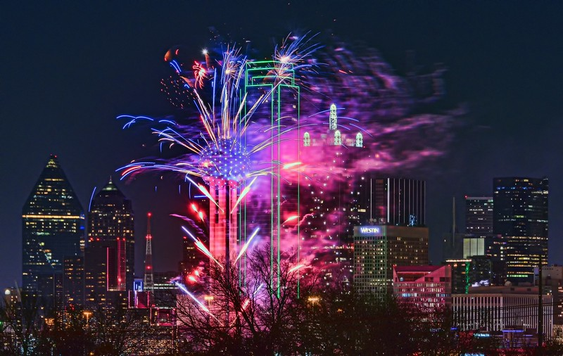 Reunion Tower New Year's Eve fireworks