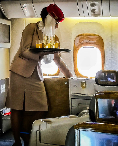Business class service on Emirates Airlines