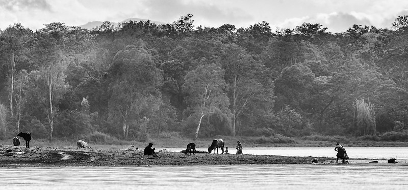 Villagers washing on the banks of the Kabini River