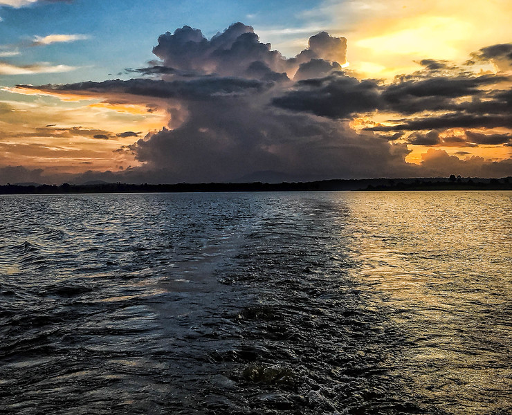 Sunset on the Kabini, from the back of our safari boat