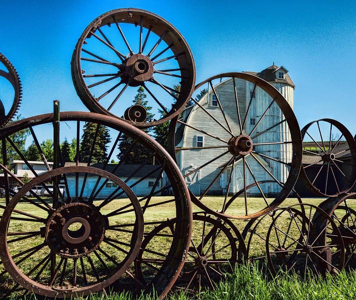Wagon wheel fence at the Dahman Barn in Uniontown