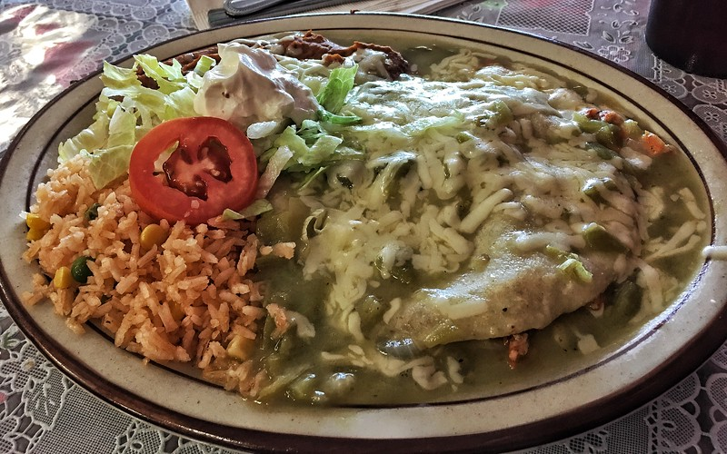 Green chile chicken enchiladas from La Cocina de Doña Clara, Santa Fe, New Mexico