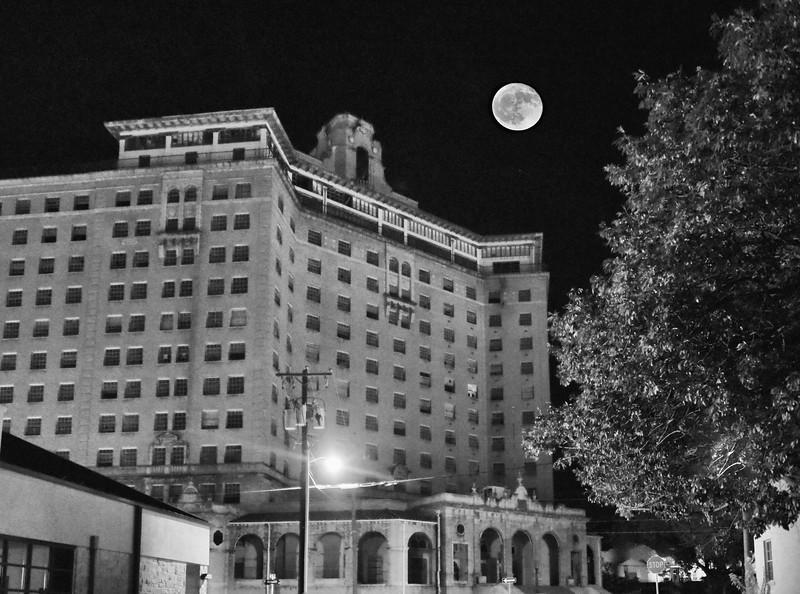 Full moon rising over the Baker Hotel