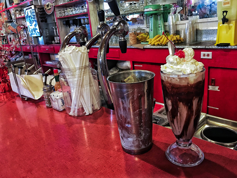 Chocolate malted, Fort Griffin Drugstore soda fountain