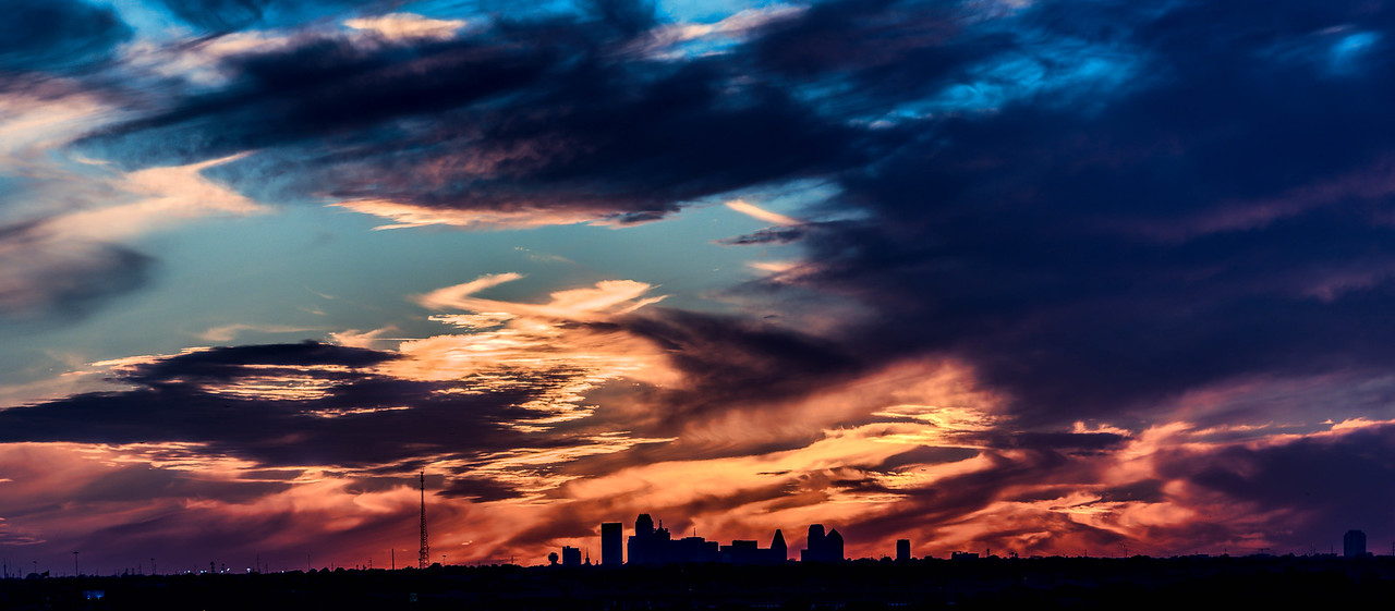 Sunset over Dallas Skyline
