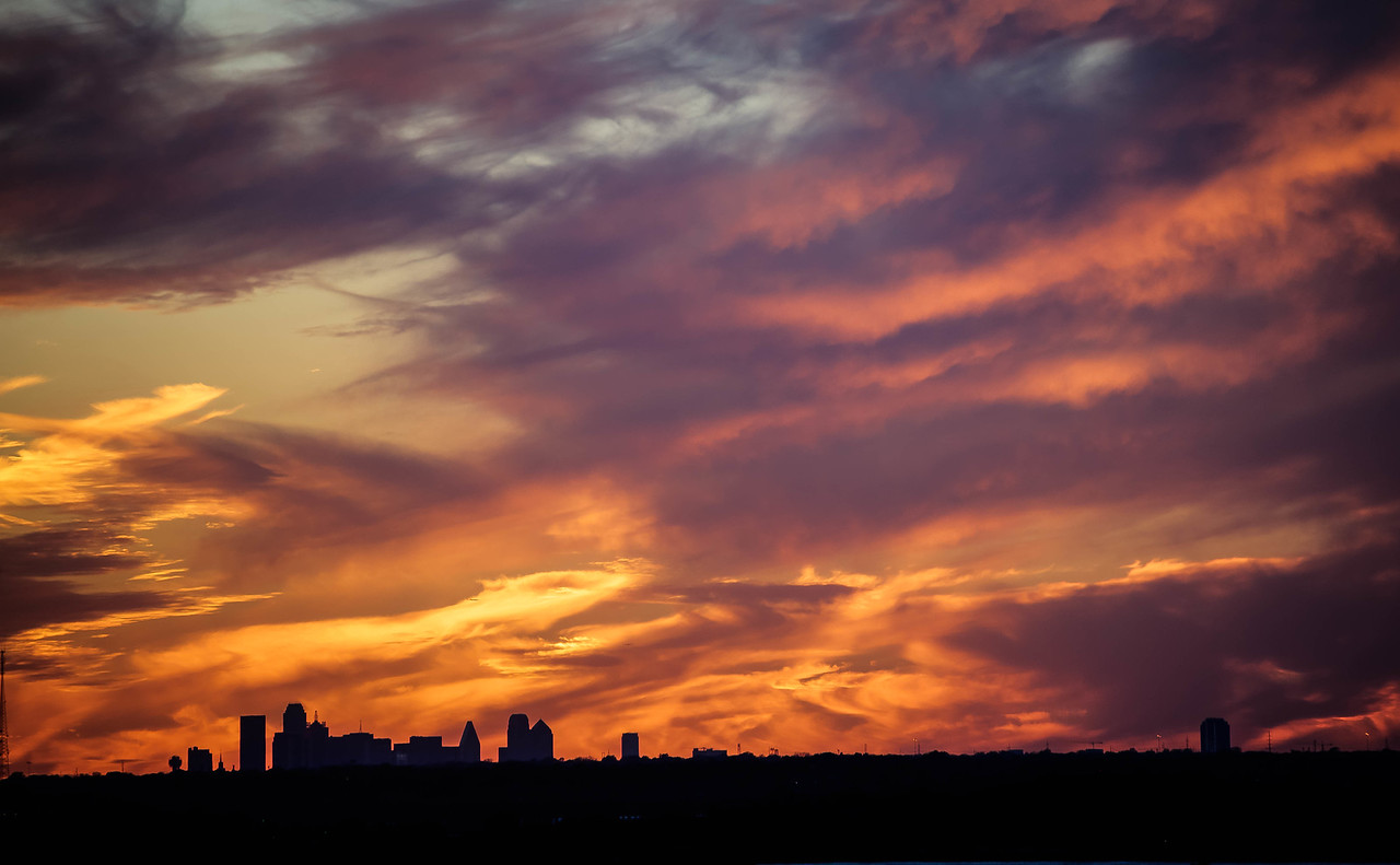Sunset over Dallas Skyline