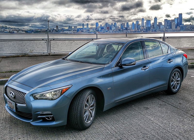 infinity q50 and seattle washington skyline