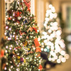 christmas tree and decorations with shallow depth of field