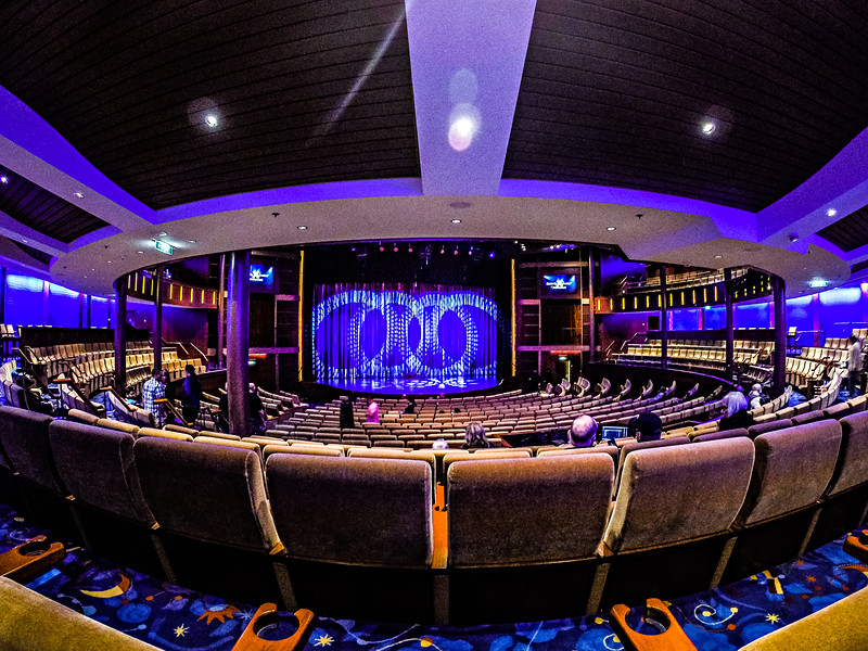 indoor movie theater stage on a cruise ship