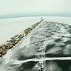 frozen lake michigan near petoskey waterfront marina