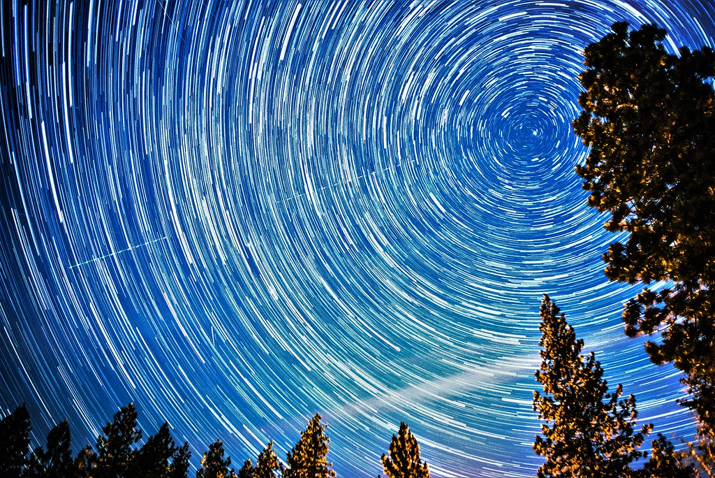 startrails of north pole polaris and small dipper
