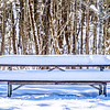 snow covered picnic table in park