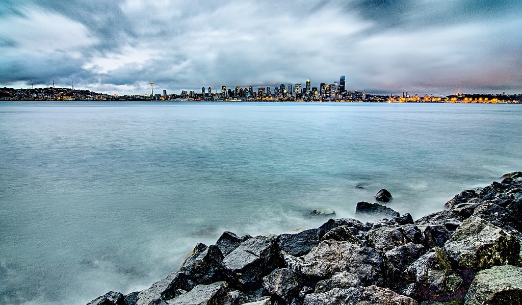 dramatic view of seattle skyline after rain storms
