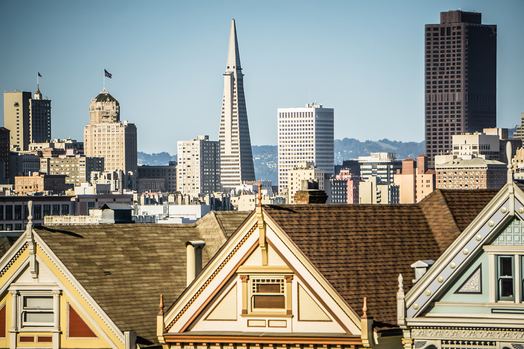 painted ladies and san francisco skyline in california