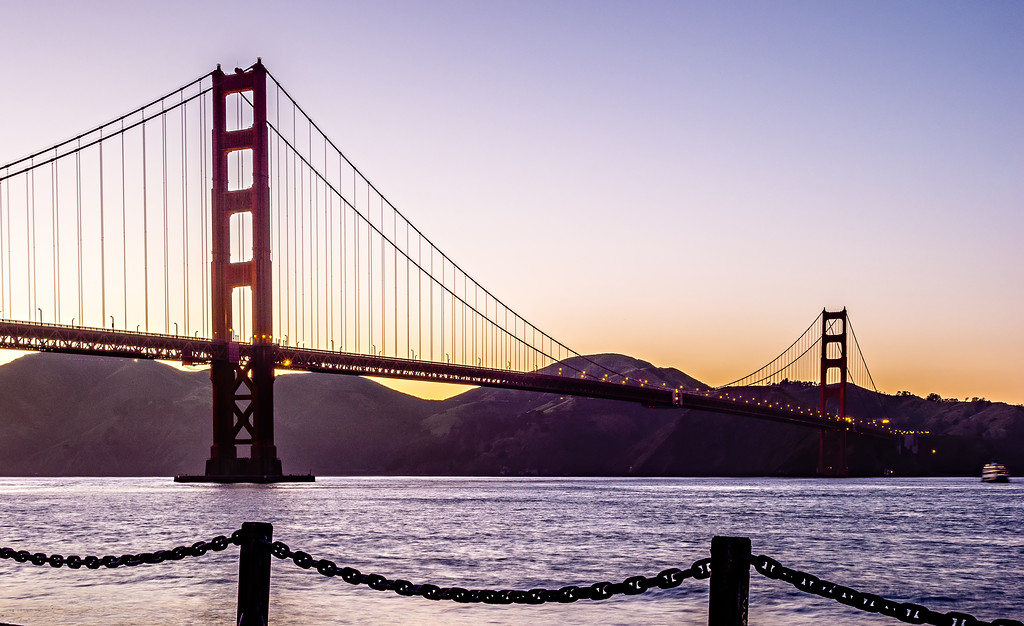golden gate bridge twilight at sunset