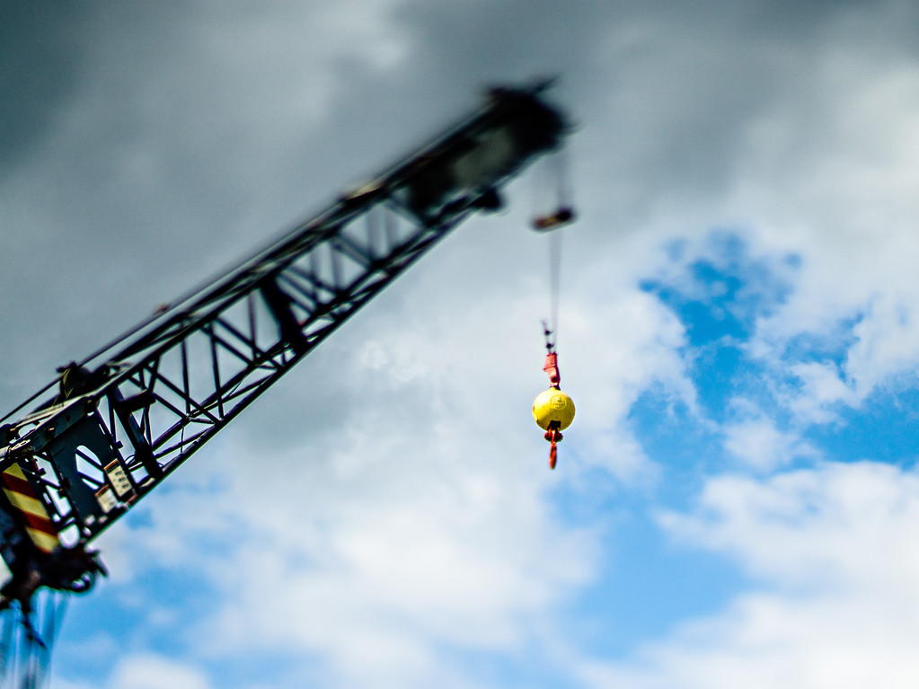 industrial heavy duty lifting crane and blue sky