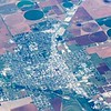 aerial view of farm land crop fields in usa