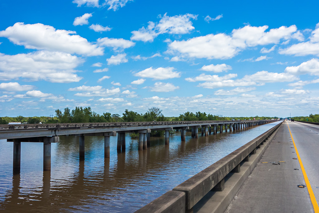 freeway bridge over atchafalaya river basin in louisiana