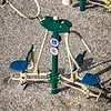 aerial view of a playground swing set