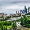 cloudy day over seattle washington