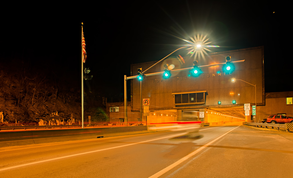 one of many pittsburg city tunnels at night