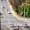 tilt shift city intersection