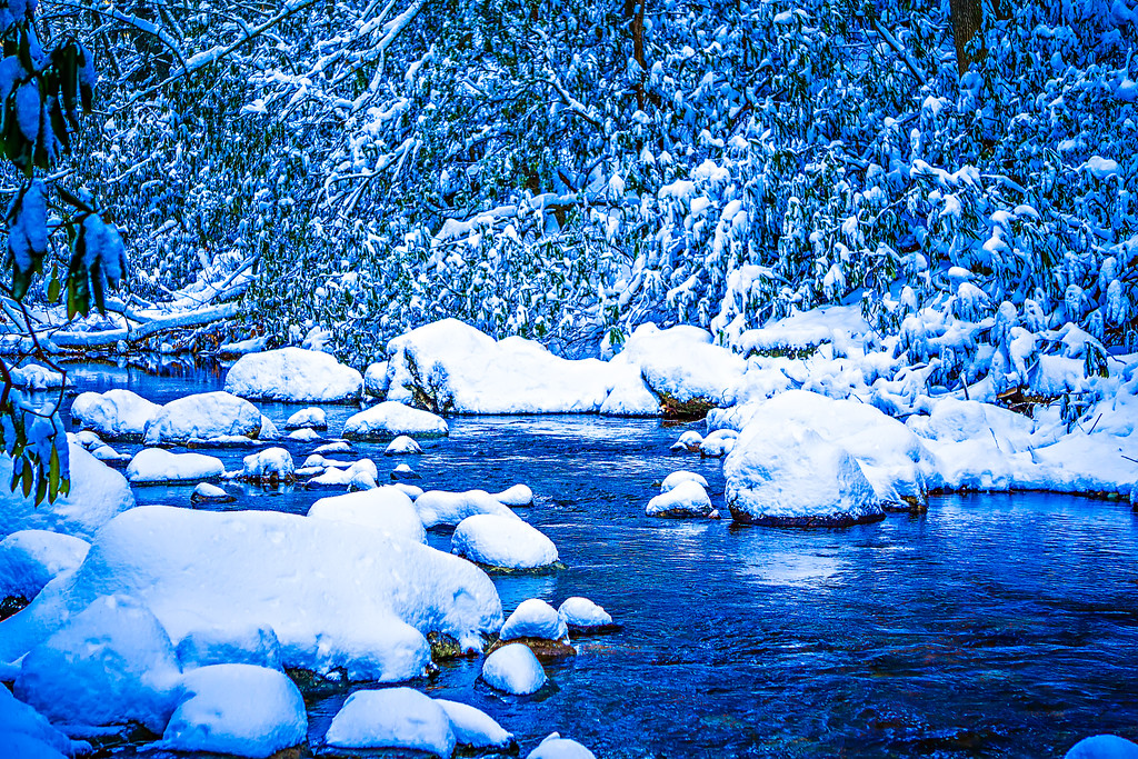 snow and ice covered mountain stream