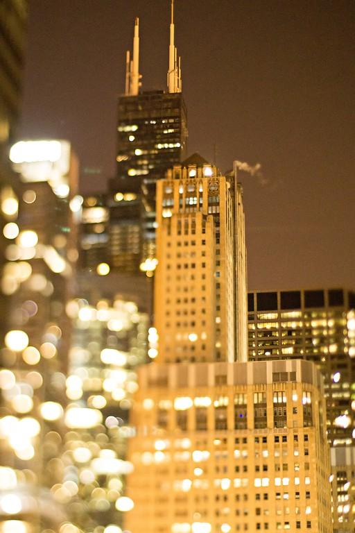 chicago illinois tilt effect cityscape at night