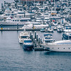 private boats and yachts are moored in the harbor at Elliott Bay Marina in Seattle pier 91
