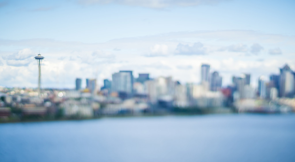 seattle city skyline with tilt shift effect