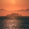 Alcatraz island prison San Francisco bay at sunset