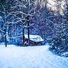 winter abandoned hut landscape
