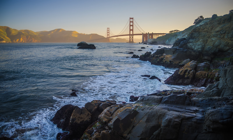 early morning over san francisco bay at golden gate bridge