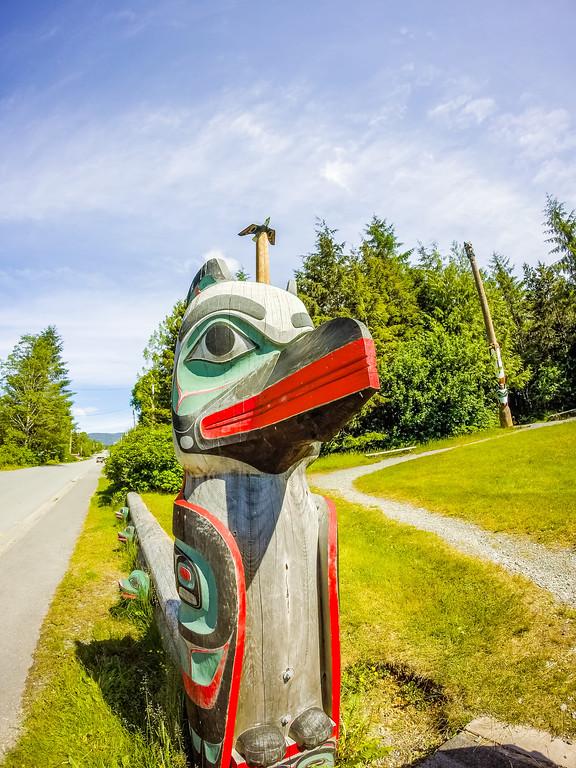 tribal totem pole in ketchikan alaska