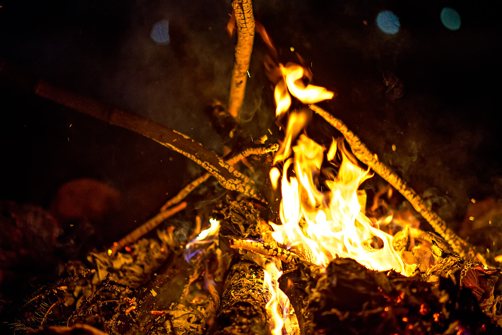 bon fire burning bright at night