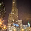 March 2017 Chicago Illinois - Trump Tower skyscraper in downtown chcago at night
