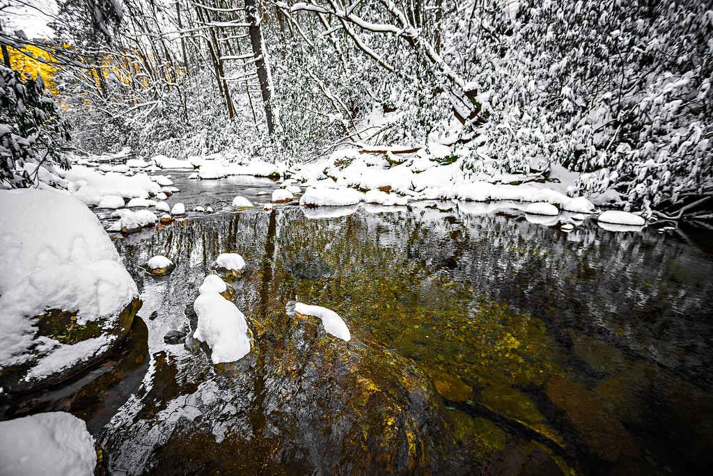south mountain stream in winter woods