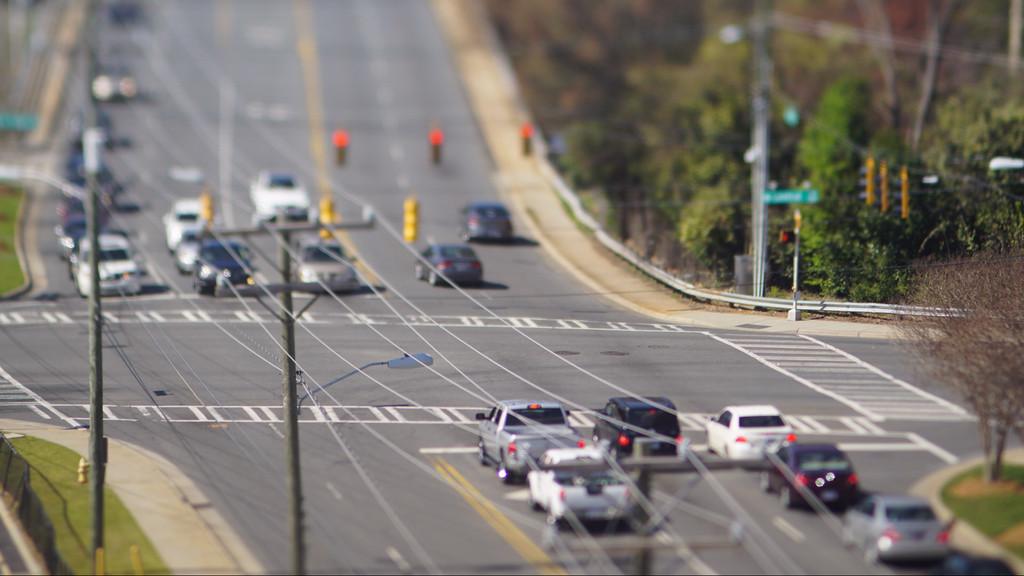 tilt shift city intersection