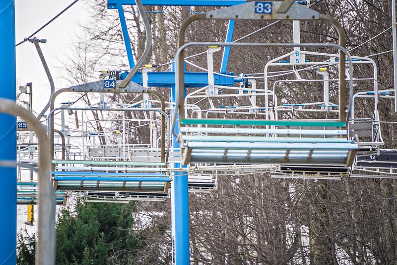 busy skiing season at a winter place ski resort