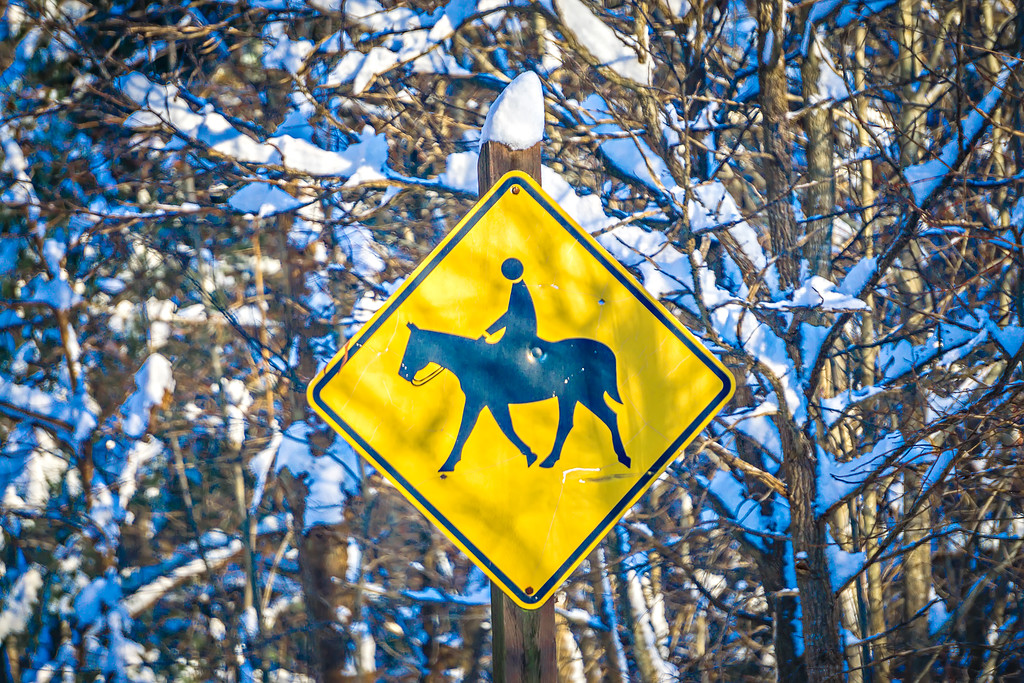 horse and rider crossing sign in winter