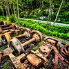 old and rusty train wheel on railroad