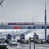mackinaw bridge toll lanes in cloudy weather