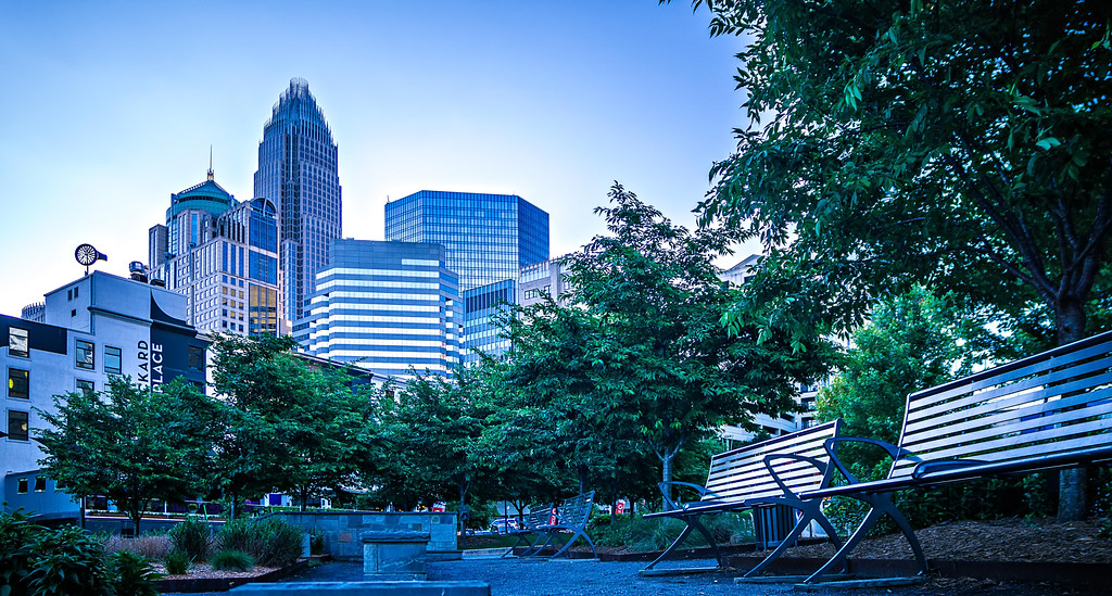 charlotte north carolina cityscape skyline early morning