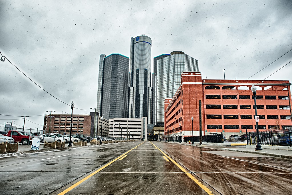 detroit city downtown and surroundings in winter
