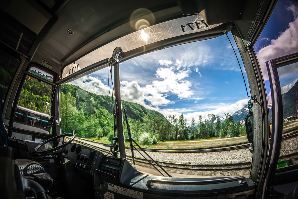 tour bus in alaska parked and waiting for passengers