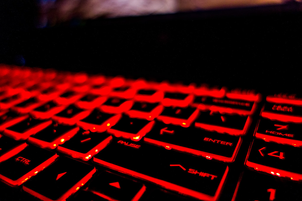 illuminated keyboard with red led