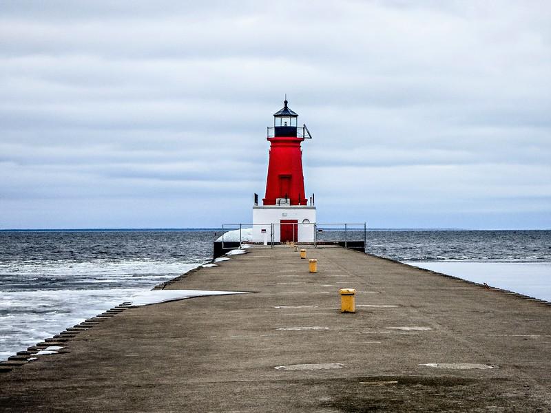 ann arbor lighthouse pier on lake michigan west coast